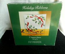 """Set of 4  Fifth Avenue Crystal Holiday Ribbons  7"""" Square Dessert Plates"""