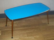 VINTAGE TABLE BASSE RECTANGULAIRE SALON MODERNISTE VERRE BLEU dlg FORMICA 50 60
