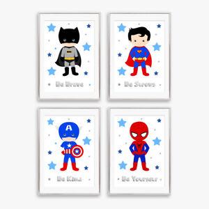Superhero Blue & Grey Star Prints Childrens Boys Bedroom Nursery Decor Pictures