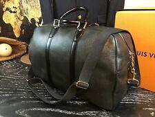 "LOUIS VUITTON 18"" France Graphite Black Leather Duffle Boston Travel Bag Strap"