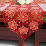 Red Embroidered Floral Lace Table Runner Wedding Party Dining Living Room Decor