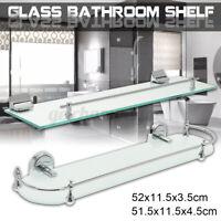 Bathroom Shelf Glass Wall Mount Bath Space Saver Storage Rack Organizer