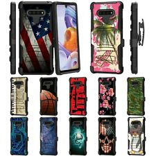 For LG Stylo 6 Rugged Armor Hybrid Kickstand Holster Belt Clip Case