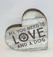 Primitives By Kathy LOVE AND A DOG Chunky Sitter Sign Heart Shape Wood
