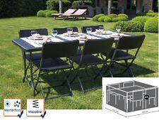 Gartengarnitur schwarz Rattan Optik, Gartentisch + 6 Stühle + Schutzhülle Plane