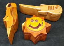 Lot of 3 Wooden Puzzle Boxes Parrot Guitar Smily Face Sun Internal Compartment