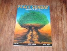 Peace Sunday June 6, 1982 Concert Program Nr/Mint Very Rare 100,000 printed