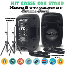 2 CASSE AMPLIFICATE 1100 WATT BLUETOOTH RADIO FM + 2 STAND COMPACT EXTREME SOUND