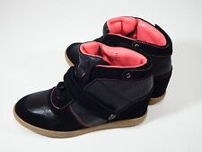 shoes Sneaker Wedges Womens 9 Medium Pastry Stylish Black & Pink Suede Lace-Up