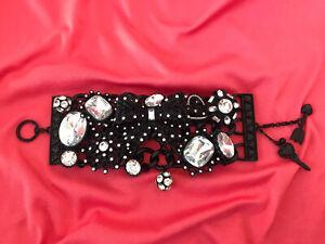 Betsey Johnson Jet Setters Black & White Clear Crystal Bow Heart Jewel Bracelet