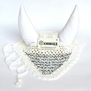 EAR NET FLY VEIL HORSE RIDING WHITE COLOR WITH MULTI COLOUR BEADS FROM AMIDALE