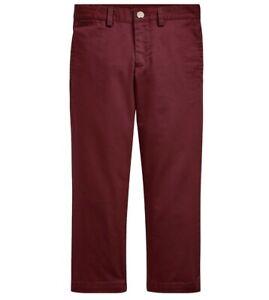 NWT New Ralph Lauren POLO Boys Red Slim Fit Cotton Chino Khaki Pants Size 6 $39