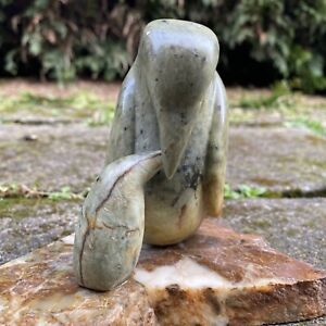 Vance Theoret Soapstone Penguin Mother & Baby Carving - Signed 1993