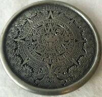 Vintage Mayan Aztec Calendar Belt Buckle Indiana Metal Craft 1976 Made In USA