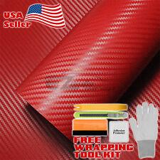 """*24"""" x 60"""" 3D RED CARBON FIBER Texture Vinyl Car Wrap Sticker Decal Film Sheet"""