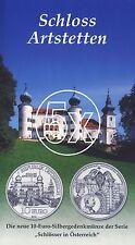 5x Österreich 10 Euro 2004 Silber Schloss Artstetten hgh im Blister