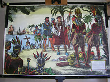 Schulwandbild Christoph Kolumbus landet in Amerika Indianer 83x57 vintage ~1960