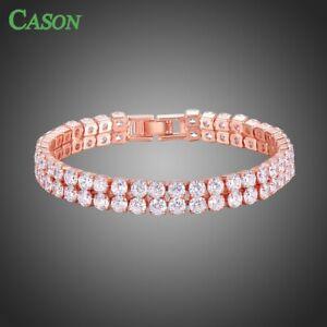 Double Row Round Cubic Zirconia Women Charm Bracelet Jewelry Gifts for Birthday
