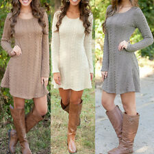 Womens Long Sleeve Sweater Mini Bodycon Dress Slim Fit Pullover Jumper Dresses