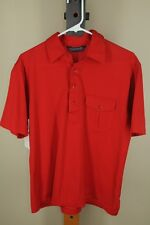 Vintage Robert Bruce Men's Solid Red Cotton 60's Polo Shirt L Large