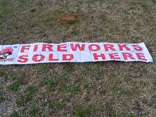 """Megabanger """"Fireworks Sold Here"""" White Vinyl Sign 2x10 ft feet 2'x10' Banner Dft"""