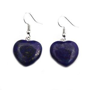 Beautiful Handmade Natural Lapis lazuli Stone Heart Shape Earrings