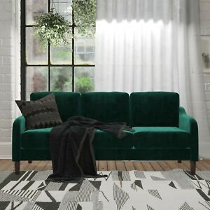 DHP Marbella 3-Seater Sofa & Couch, Living Room Furniture, Gray or Green Velvet
