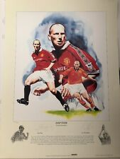 Signed Print of Manchester United ex player Jaap Stam Treble 1999 Utd