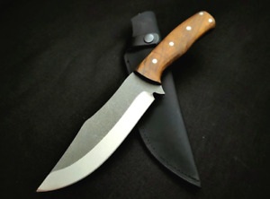 Drop Point Knife Fixed Blade Hunting Survival Wild Combat Tactical Wood Handle S