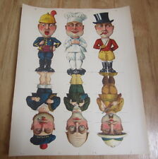 Old c.1890 Antique French Game PRINT - COMIC CHARACTERS - For Wooden Blocks