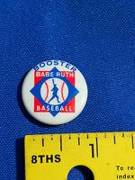 1960's Baseball Pin Button Pinback Badge Babe Ruth Booster VTG Rare Sports