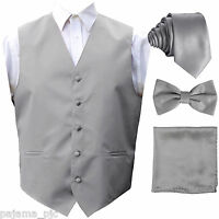 Silver Gray Solid Vest Waistcoat, Tie And Bow Tie & Hanky Suit or Tuxedo Formal