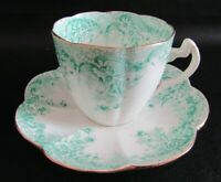 ANTIQUE FOLEY WILEMAN SHELLEY GREEN FLORAL SPRAYS  LILY SHAPED TEA CUP & SAUCER