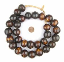Dark Brown Kenya Bone Beads Sphere 25mm African Round Large Hole 30 Inch Strand