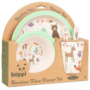 boppi Bamboo Kids Childrens Baby Dinner Set Plate Cup Bowl Cutlery FOREST ANIMAL