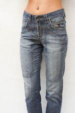 JECKERSON Jeans Gamba Dritta Blu Stretch ITALIA sbiadite Donna W30 UK12