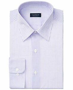 Club Room Mens Dress Shirt Purple Size 15 1/2 Regular-Fit Plaid Print $45 188