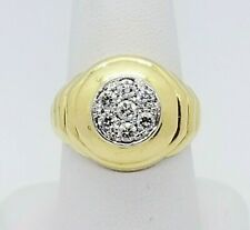 Ring! Classic Design Huge Center Diamonds $7500 Mens 18Kt Diamond Yellow Gold