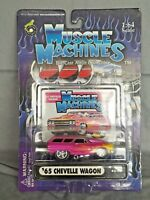 Muscle Machines 1965 '65 Chevy Chevelle Wagon 02-70 Pink w/ Flames 1:64