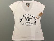 TRUE RELIGION WOMEN ARCH BUDDHA CRYSTAL DEEP VNECK T-SHIRT WVEY33ENG NWT S $79