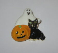 Black White Orange Gold Tone Ghost Cat Pumpkin Pin Halloween