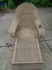 Antique Wicker Chaise Lounge by Sons Cunningham of New York