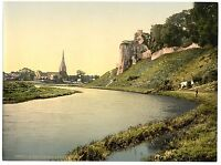 2 Victorian Views Kidwelly Cydweli Castle River Gwendraeth Old Photo Set Picture