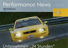 Poster Prospekt Opel Performance News 2/03 Motorsport Alain Menu Astra V8 DTM