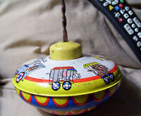 VINTAGE OHIO ART * U.S.A.*  Tin Toy Spinner Top CIRCUS DESIGNED/ WORKS PERFECT