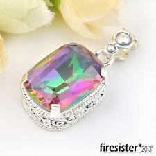 Artistic Antique Rainbow Fire Mystic Topaz Gem Silver Plated Pendants 1 3/8 Inch