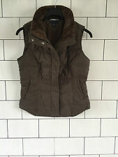 WOMENS URBAN VINTAGE RETRO TOMMY HILFIGER BROWN 90'S FALMERS JACKET GILLET SMALL