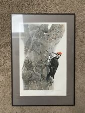 Vintage Robert Bateman Pileated Woodpecker Lithograph/Numbered And Signed 1977