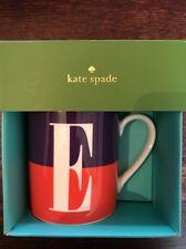 "kate spade lenox what's in a name ""e"" mug 12oz nib nwt $15retail"