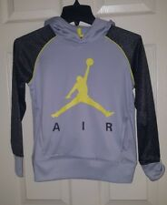 Authentic Nike Jordan Therma Fit Hoodie Jacket Youth S 8-10 Unisex gray/yellow